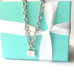 Tiffany&CO 1837 padlock charm link necklace